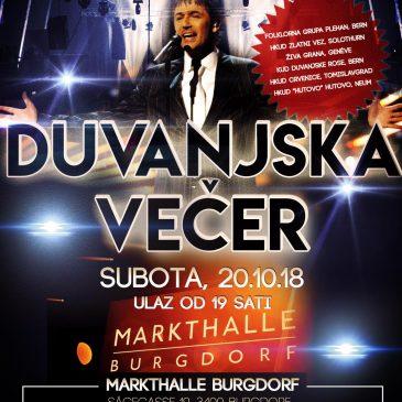 NAJAVA: U subotu 21. Duvanjska večer u Švicarskoj