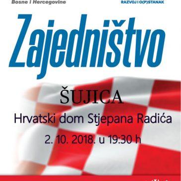 NAJAVA: Predizborni skup HDZ-a BiH danas u Šujici u 19:30 sati