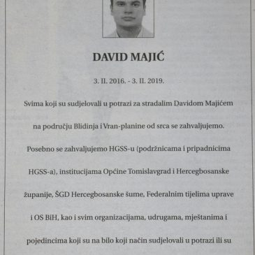 IN MEMORIAM: David Majić (3. 02. 2016. – 3. 02. 2019.)