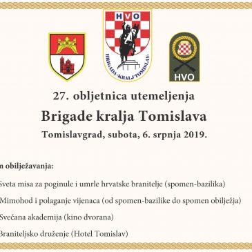NAJAVA: U subotu proslava 27. obljetnice Brigade kralja Tomislava