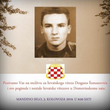 NAJAVA: U subotu molitva kod groba hrvatskoga viteza Dragana Šumanovića