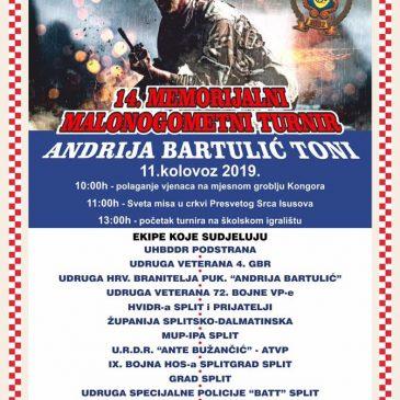 """U KONGORI 11. KOLOVOZA: 14. memorijalni turnir """"Andrija Bartulić Toni"""" i koncert Dalmatina"""