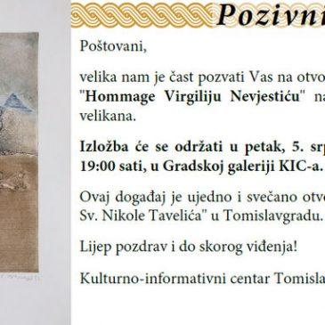 "NAJAVA: Izložba ""Hommage Virgiliju Nevjestiću"" u petak u KIC-u"