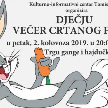 DJEČJA VEČER CRTANOGA FILMA NA TRGU GANGE I HAJDUČKE DRUŽINE DANAS U 20 SATI