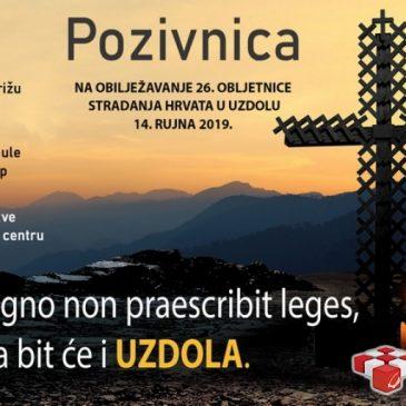 NAJAVA: Obilježavanje 26. obljetnice stradanja Hrvata u Uzdolu