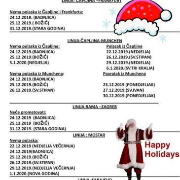 ĆIĆKO COMMERCE: Raspored vožnji za vrijeme Božića i Nove godine