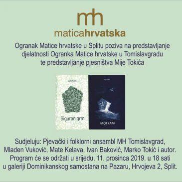 NAJAVA: U Splitu 11. prosinca o djelatnosti tomislavgradske Matice hrvatske i pjesništvu Mije Tokića
