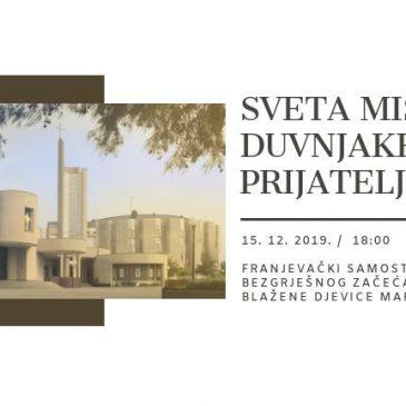 UDRUGA DUVNJAKA ZAGREB: Misa za Duvnjake i prijatelje 15. prosinca