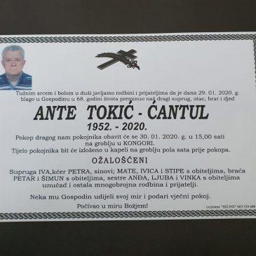 PREMINUO JE ANTE TOKIĆ – ĆANTUL (1952.-2020.)