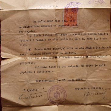 SAČUVANO OD ZABORAVA: Rezina građevinska dozvola iz 1935.