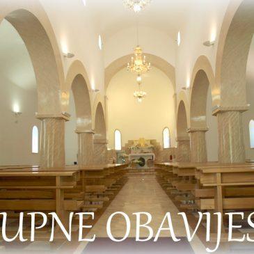 ŽUPNE OBAVIJESTI: IV. nedjelja kroz godinu – Prikazanje Gospodinovo (Svijećnica)
