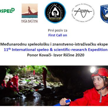 PRVI POZIV NA 11. Međunarodnu speleološku i znanstveno-istraživačku ekspediciju Ponor Kovači- Izvor Ričine 2020.