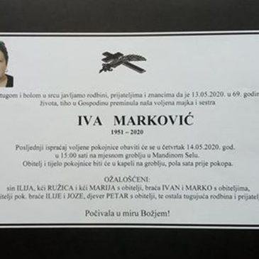PREMINULA IVA MARKOVIĆ – BOŽANOVICA (1951.-2020.)