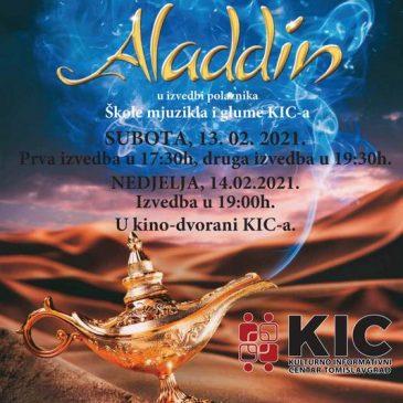 """KIC – ŠKOLA MJUZIKLA I GLUME: Mjuzikl """"Aladin"""" u subotu i nedjelju"""