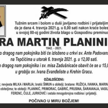 PREMINUO FRA MARTIN PLANINIĆ, ŽUPNIK U KONGORI OD 1974. DO 1977.
