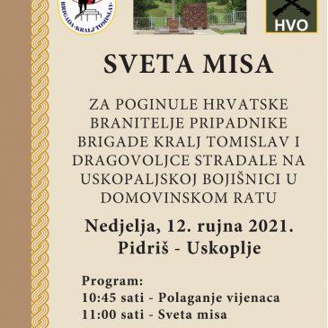 PIDRIŠ/ USKOPLJE: Sveta misa za hrvatske branitelje sutra