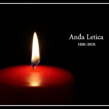 U SPLITU PREMINULA ANĐA LETICA ROĐ. ŠARAC (1930.-2019.)