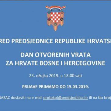 URED PREDSJEDNICE RH: Dan otvorenih vrata za Hrvate BiH 23. ožujka