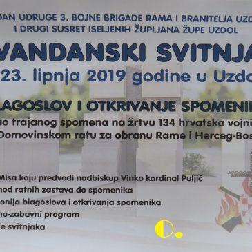 NAJAVA: Blagoslov i otkrivanje spomenika poginulim hrvatskim braniteljima na Uzdolu