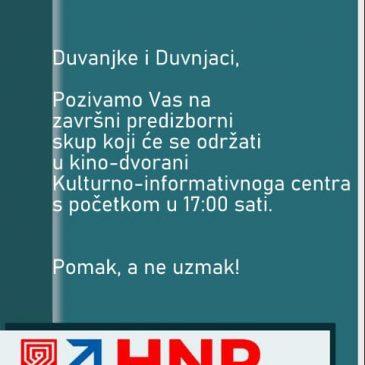 HRVATSKI NACIONALNI POMAK: Danas završni skup u 17 sati