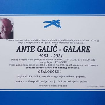 PREMINUO JE ANTE GALIĆ – GALARE (1963.)