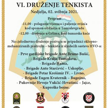 NAJAVA: VI. druženje tenkista HVO-a 2. svibnja u Grlima