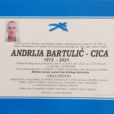 PREMINUO JE ANDRIJA BARTULIĆ – CICA IZ KONGORE