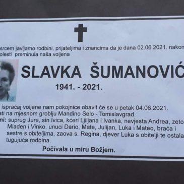 PREMINULA JE SLAVKA ŠUMANOVIĆ (1941.)