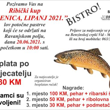"""NAJAVA: Ribički kup: """"Vođenica 2021"""" – lov potočne pastrve"""