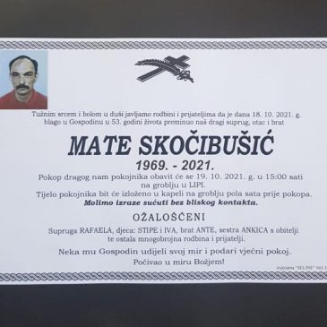 BLAGO U GOSPODINU PREMINUO MATE SKOČIBUŠIĆ (1969.) IZ LIPE